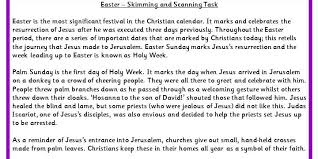 easter skimming and scanning task classroom secrets