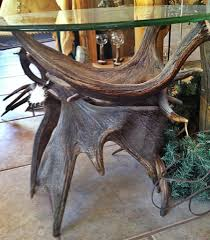 discount moose antler end table with glass cheap shipping