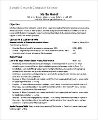 resume for internship in computer science pdf files sle computer science resume 8 exles in word pdf