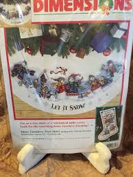 snow carolers tree skirt kit snowman counted cross