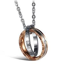rose gold men necklace images Matching set his amp hers men women couples black silver rose jpg