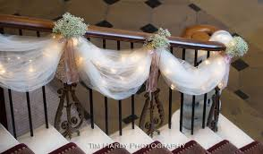 how to use tulle to decorate a table tulle lights and baby s breath staircase decorations stairway