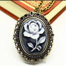 woman necklace watch images Buy bronze pocket watch women white rose relief jpg