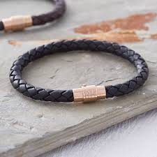 bracelet clasps gold images Men 39 s personalised rose gold clasp leather bracelet by jpg