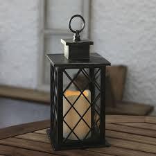 lanterne extérieure avec bougie led en métal noir hauteur 30cm jaipur
