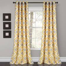 Yellow Grommet Curtain Panels by Diamond Ikat Room Darkening Window Curtain Set Window Curtains