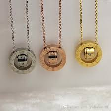 circle monogram necklace wholesale titanium stainless steel necklace bar gold pendant