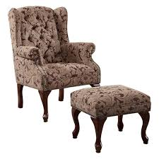 brown chair and ottoman coaster queen anne button tufted wing accent chair with ottoman in
