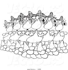 vector of a cartoon six geese a laying coloring page outline by