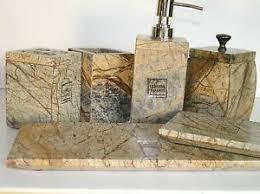 new 6 pcs genuine marble luxury bathroom accessory set bath decor