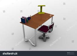 3d image study table table chair stock illustration 21452551