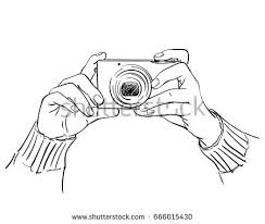 sketch hands holding compact photo camera stock vector 666015430
