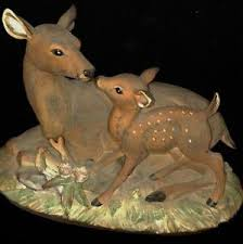 homco home interiors masterpiece porcelain figurine doe and fawn