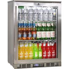 rhino triple glass 1 door commercial stainless steel bar fridge
