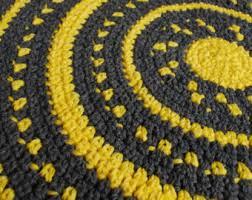 Yellow Circle Rug Yellow Gray Rug Etsy