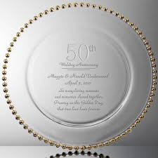 50th anniversary plate engraved golden personalized 50th anniversary engraved plate