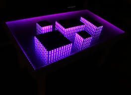 white table led 3d coffee table illuminated infinity mirror effect