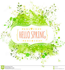 white decorative frame with text hello spring green paint splash