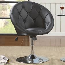 Sofa With Swivel Chair Dining Chairs And Bar Stools Contemporary Round Tufted Black