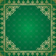 green background with vintage gold ornament vector clipart image