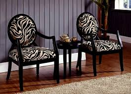 Zebra Print Accent Chair 3 Pc Black Finish Wood Accent Chairs And Side Table Upholstered