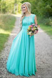 turquoise long chiffon country bridesmaid dresses 2016 lace jewel