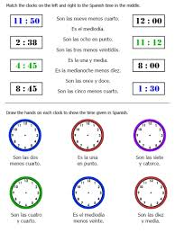 25 page worksheet packet on telling time in spanish plus seasons