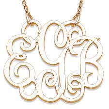 elizabeth edmonds sterling script 3 initial monogram necklace