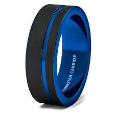 men tungsten rings images Wedding band 8mm black brushed tungsten ring thin side blue groove jpg