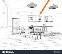 linear kitchen 3d linear kitchen interior stock illustration 288455798 shutterstock