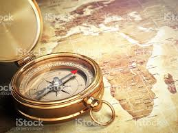 Old World Map Vintage Compass On The Old World Map Travel Concept Stock Photo