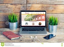 travel destination website on a laptop computer stock photo