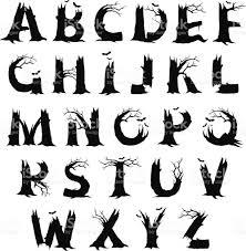 Spooky Halloween Silhouettes Alphabet Horror Letters Stock Vector Art 522804231 Istock