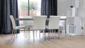 modern glass dining table quilted chunky grey oak dining table glass legs white or grey quilted