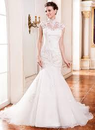 trumpet mermaid high neck cathedral train organza wedding dress