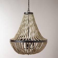 wood bead ceiling light attractive wooden beaded chandelier civenna wood black wrought iron