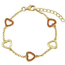 gold plated silver heart bracelet images Red cz gold plated sterling silver open heart bracelet 5 jpg
