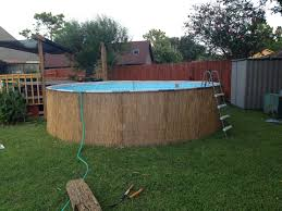 our intex pro series 14 u0027 pool dressed up with bamboo reed fencing