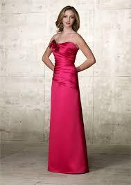 a line strapless long pink satin wedding guest dress