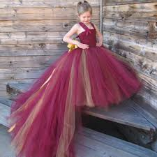 aliexpress com buy burgundy flower dresses with train tulle