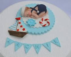 personalised edible baby sailor boy with boat christening