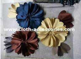 Polyester Flowers - big blue and yellow silk fabric flower corsage polyester satin sgs