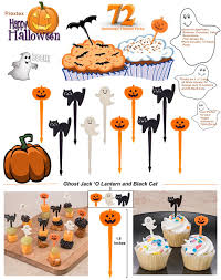 prextex 72 pack plastic halloween cupcake picks ghost jack u0027o