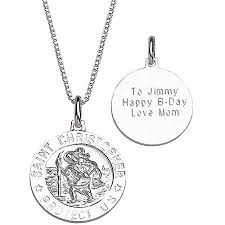 Personalized Sterling Silver Necklace Personalized Sterling Silver St Christopher Engraved Medallion