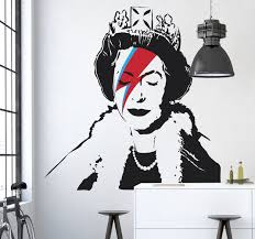 a fun and artistic sticker of queen elizabeth with the famous a fun and artistic sticker of queen elizabeth with the famous ziggy stardust lightening strike across