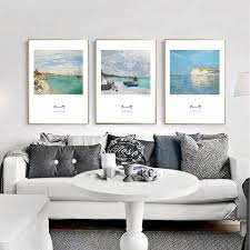 posters monet promotion shop for promotional posters monet on claude monet seascape poster print canvas painting for living room wall picture modern nordic art home decor 4 piece no frame