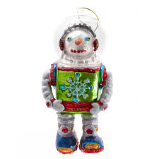 gisela graham painted glass snowman robot