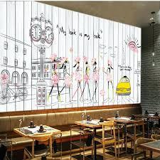 coffee shop background design hand painted wall murals custom mural fashion girl mural hand