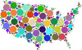 United Stated Map Clipart Prismatic United States Map Circles