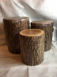 set of 3 nested faux tree bark storage stumps beckman s